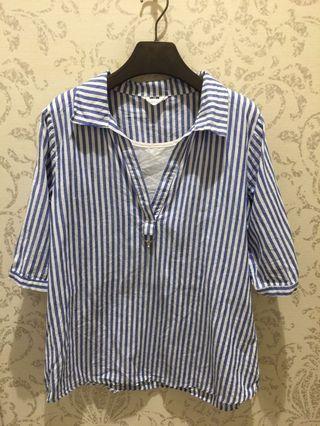🚚 藍白直條紋假兩件上衣