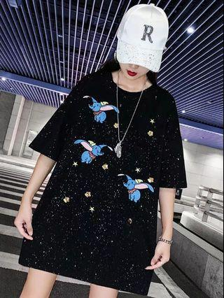 PO LLM190962 S-2XL Glittering Embroidery Dumbo Large Tee / Dress