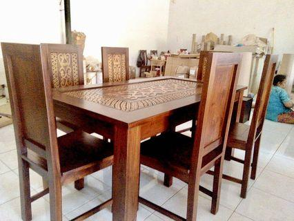 Dining Set Elung 6 chairs & Glass top