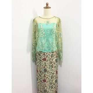 Kebaya Dress brokat remaja hijau mint