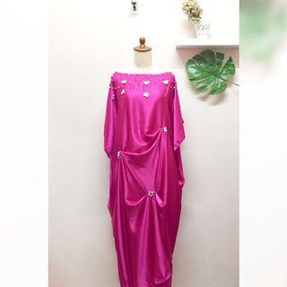 Kaftan dress gaun wanita pink