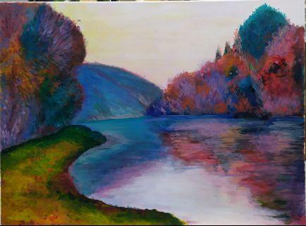 Reproduction of famous artist Claude Monet's Banks of the Seine at Jenfosse, Clear Weather #Acrylic painting #wall art