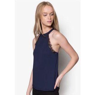 🚚 Topshop 藍色蕾絲削肩露背性感無袖上衣