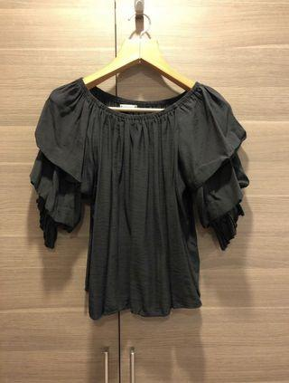 BNWOT Black off shoulder puff sleeve top