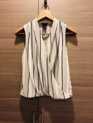 H&M white striped sleeveless blouse