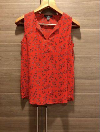 Red butterfly print sleeveless blouse