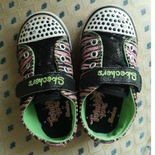 Skechers Girls Twinkle Toes Zebra Light Up