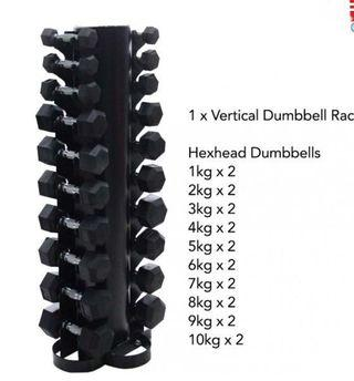 Vertical rack hexagon head dumbbell set