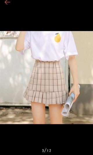 格子魚尾顯瘦半身裙