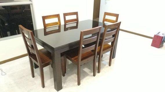 Preloved Dining Table and Chairs in dark