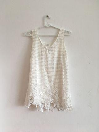 Cecile McBee laced white top or mini dress