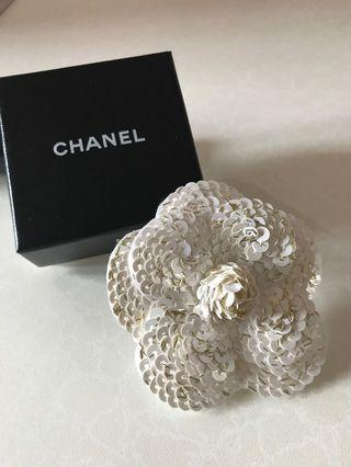 Rare Chanel Sequin Camellia (white and gold)