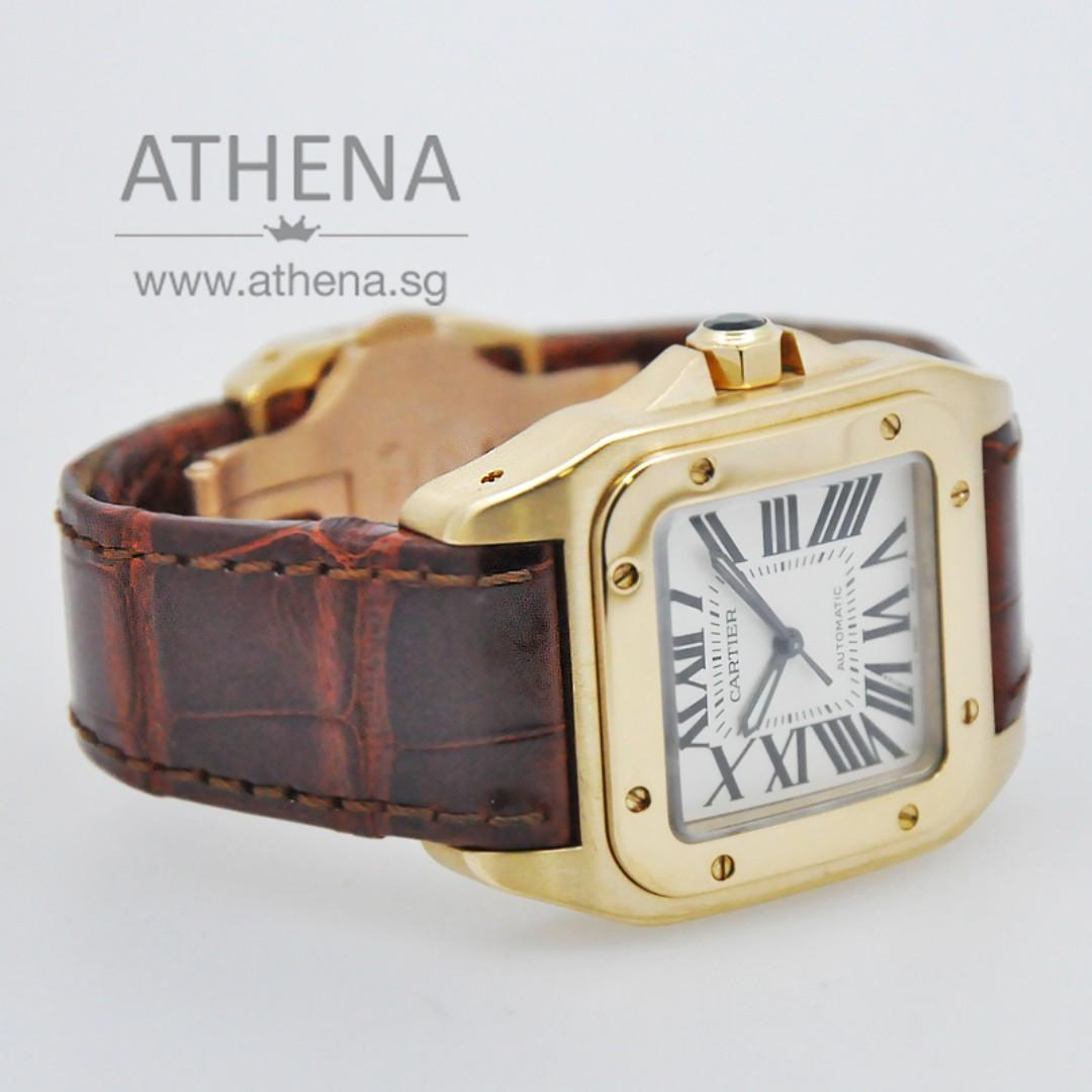 18K YELLOW GOLD CARTIER MID SIZE SANTOS 100 AUTOMATIC WITH BOX & CERT W20071Y1 / 2880 JGWCT_035