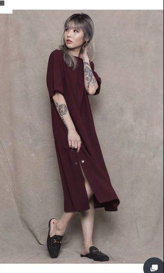 By your side button midi in oxblood
