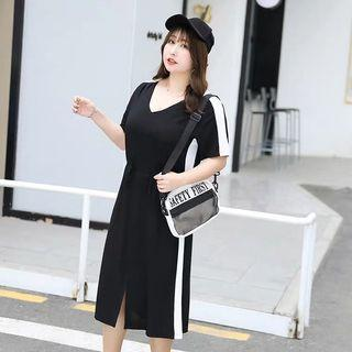 PO LLM190969 3XL-8XL High Elasticity BLack w White Stripe Dress