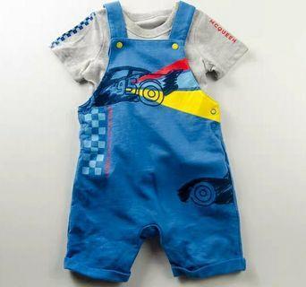 📢限量0-18 反斗車王 lightning mcqueen 嬰兒bb純棉 灰色短袖上衣T恤+藍色背心工人褲吊帶褲2件套裝 全新 disney baby