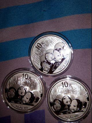 Giant Panda 2013 collectible silver coins