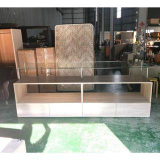 合運二手傢俱~灰橡色玻璃斜角中島擺設櫃A02259