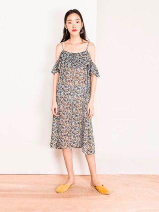 Modparade Gabe Floral Midi Dress - Blue (Queendom)