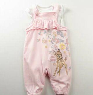 📢限量0-18m 小鹿斑比 Bambi 嬰兒bb純棉 白色短袖上衣T恤+粉紅色背心工人褲吊帶褲2件套裝 全新 disney baby