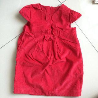 Little red dress with scallop front flap and scallop sleeves