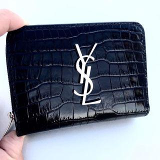 YSL Saint Laurent Dark Navy Blue Croc Embossed Leather Wallet 100% AUTHENTIC+BRAND NEW! #403964