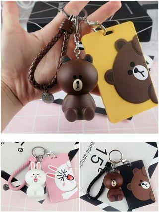 Line friends Cony and Brown keychain cardholder