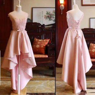 jual gaun pesta - dres pesta - dress mc - dress singer - promnight - dress pink - midi dress kombinasi