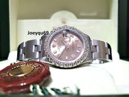 Pink ROLEX Oyster Date Automatic Etching CrystalFULL Diamond bezel!