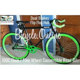 700C Fixie / Free Wheel Convertible Road Bike *Bullhorn Handlebar ☆ Dual Brakes ☆ Brand New Harris Bicycles
