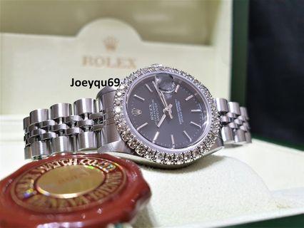 Rolex Mechanical auto Rare Black dial Etched crystal Full diamonds bezel