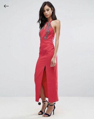 BNWT Little Mistress Red Halterneck Maxi Dress with Embellished Detail