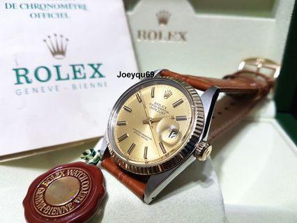 (Cert & Box) ROLEX DATEJUST halfgold Auto  Men Rare thick marker Dial Quick set date