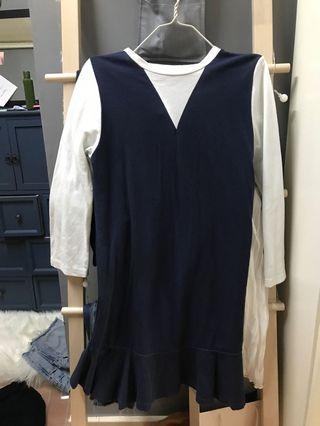 斯文裙藍色白色拼布假兩件連衣裙