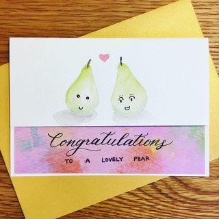 【自家製】手繪結婚賀卡 - 啤梨篇