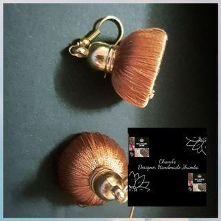 🚚 Bronze Pakistani Indian traditional Silk thread jhumka earring