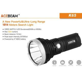 (Free Delivery_6,200 Lumens) Acebeam K65 Long Throw LED Flashlight_1KM Beam Distance