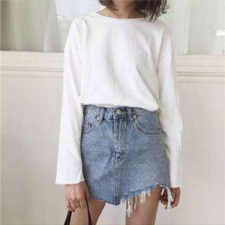 Ripped Denim Skirt