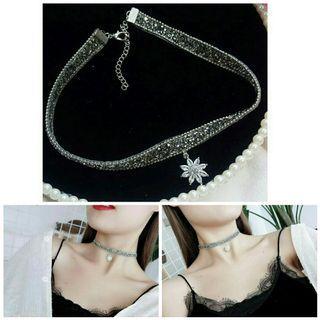 Korean Style Fashion Zircon Flower Choker Necklace