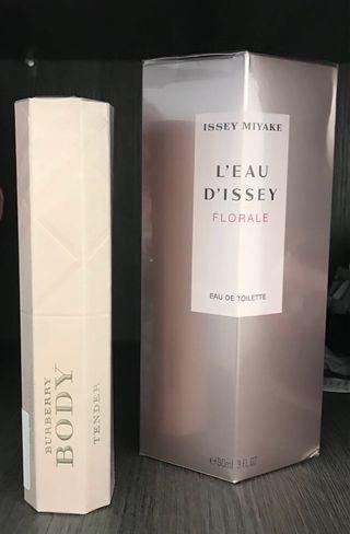 Issey miyake  floral and Burberry both