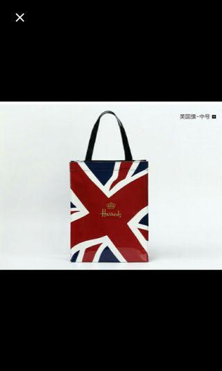 (NO INSTOCKS!)Preorder Harrods PVC waterproof UK flag shopping tote bag * waiting time 15 days after payment is made*chat to buy to order