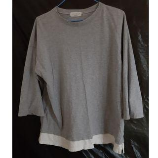 (灰色)九分袖韓國假兩件式薄長袖