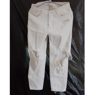 白色高腰破褲
