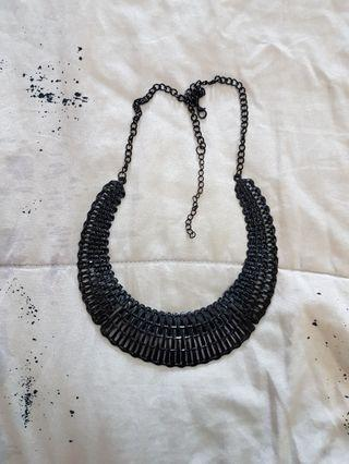 Black metal necklace kalung elegan hitam murah