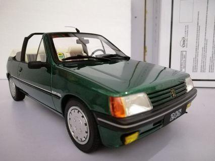 OTTO Peugeot 205 Cti Cabriolet Roland Garros Green Metallic 1986 scale model