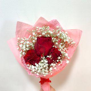 🚚 Rose and Baby breath Bouquet #1