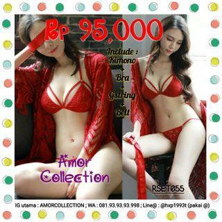 Lingerie seksi kimono set luxury merah -RSET055- By AMORCOLLECTION