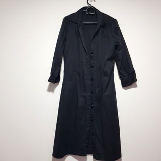 Topshop Black Long Coat Shirt Dress