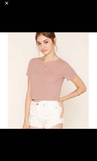 [4 for $10] F21 dusty pink cropped tee