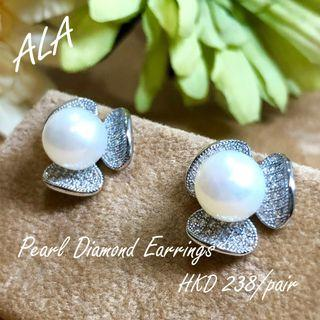925 純銀 8.5mm 天然珍珠 水鑽 鑽石 耳環 耳釘 925silver 8.5mm pearl cz diamond earrings *ALA mama*